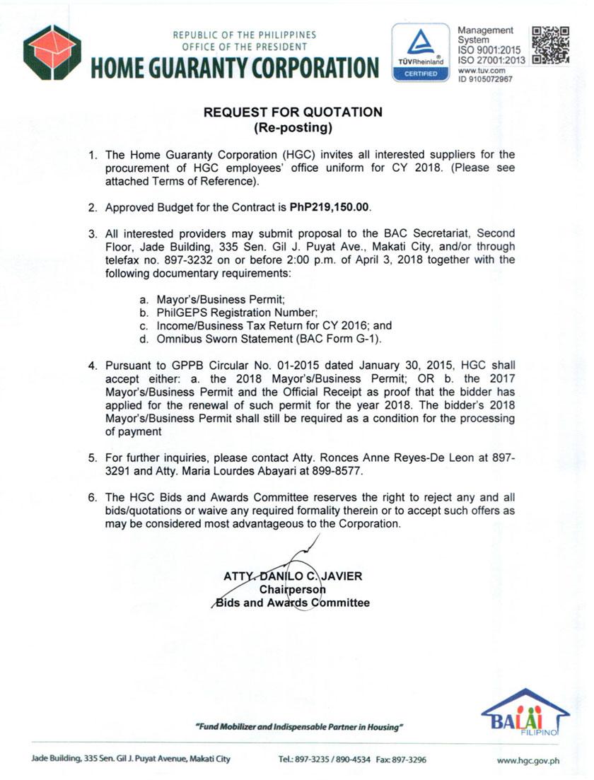 Hgc Invitation To Submit Proposal